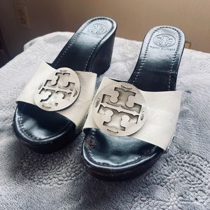 Tory Burch Wedge Slide Off Sandals White & Brown